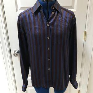 Escada Silk Striped Brown + Blue Blouse